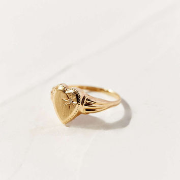 Diament Jewelry Vintage 10K Gold Diamond Heart Ring - Urban Outfitters