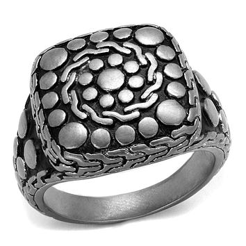 Men Sterling Silver Rings TK2420 Antique Silver Stainless Steel Ring with Epoxy