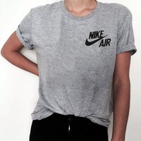 NIKE golden hook Leisure sports cotton T-shirt short-sleeved Grey