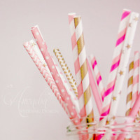 Paper Straws, 20 pcs Golden Pink Paper Straws set with 10 Designs of Chevron, Stripes, Dots Straws Drinks Decor for Reception, Bridal Shower
