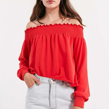 Kimchi Blue Cecil Smocked Off-The-Shoulder Sweatshirt   Urban Outfitters