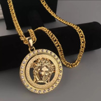 Gold Fashion Hip Hop Versace Rotate Necklace