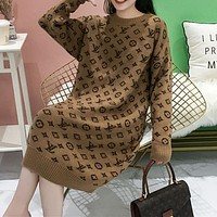 LV Louis Vuitton New thick sweater women loose mid-length low round neck alpaca fleece skirt
