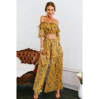 2 Piece Off Shoulder Crop Top With Flare Long Pants