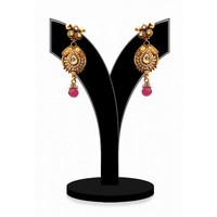 Gorgeous Polki Earrings for Women in White Stones with Antique Polish