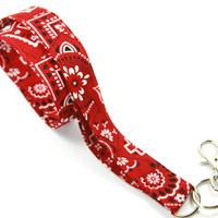 RED Fabric Lanyard, Red Fabric Badge Holder, Bandana Fabric Lanyard, Bandana Design Badge Holder