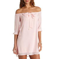 BOW-TOPPED OFF-THE-SHOULDER SHIFT DRESS