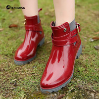 Rubber Shoes Women Rain Boots For Girls Ladies Casual Walking Waterproof Rubber Shoes Winter Fall Ankle Martins Woman Rainboots