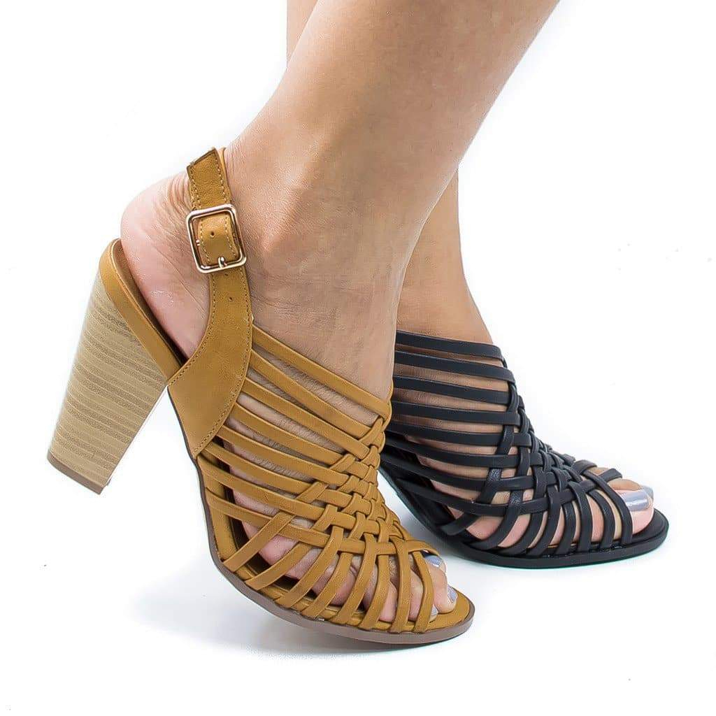 Image of Hills By Delicious, Peep Toe Huarache Woven Sling Back Stacked Heeled Sandals