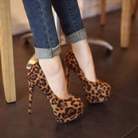 Suede Leopard Pumps