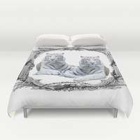 White Tigers Duvet Cover by Haroulita
