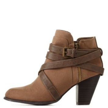 Taupe Belt-Wrapped Chunky Heel Booties by Charlotte Russe