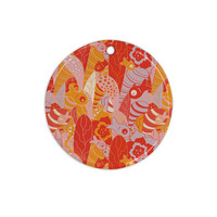 """Akwaflorell """"Fishes Here, Fishes There"""" Orange Red Ceramic Circle Ornament"""