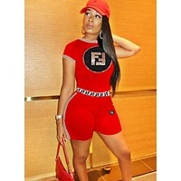 Fendi Fashion New Summer Sequin Letter Sports Leisure Top And Shorts Two Piece Suit Women Red