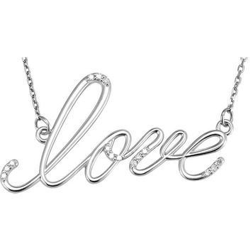 """Diamond """"Love"""" Design 18"""" Necklace - Sterling Silver or Solid 14k Gold"""