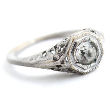 Antique Art Deco Filigree Faux Diamond Ring -  Vintage Size 6 Clear Rhinstone Glass Costume Jewelry Signed Sumatra / 1/3 Carat Solitaire