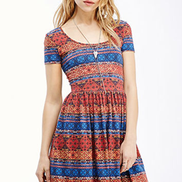 Kaleidoscopic Print Fit & Flare Dress
