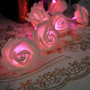20LED Rose Flower Fairy String Lights Wedding Garden Party Christmas Decoration Night light bedroom lamp = 1932935620