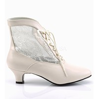 """Dame 05 Lace Panel Victorian Style Ankle Boots 2"""" Heel 6-12 Ivory"""