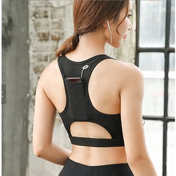 Sojahfit High Impact Wire Free Running Fitness Padded Sport Bra With Back Phone Pocket