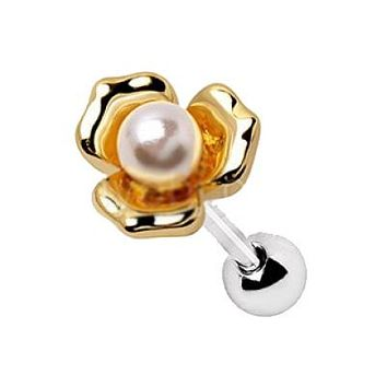 Gold Plated Pearl Flower Cartilage Earring