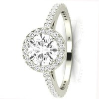 .2.5 Carat GIA Certified 14K White Gold Halo Round Cut Diamond Engagement Ring (2 Ct E Color VS1 Clarity Center)