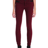 Blank NYC Animal Blood Burgundy Leopard Print Spray On Skinny Jeans