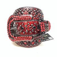 b.b. Simon 'Devil Red' Patent Python Crystal Belt