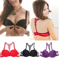 Women Front Closure Lace Racer Back Push Up Bra Underwear (Bra+Panty) = 1932567940