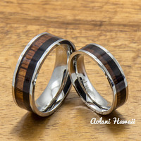 A Pair of Stainless Steel Rings with Hawaiian Koa Wood (6mm & 8mm width)