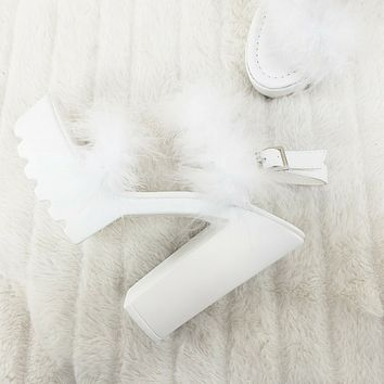 Top Rate Marabou Double Strap Chunky High Heels Platform Sandal Shoes White