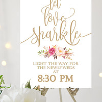 Let Love Sparkle Sign | Various Sizes | Printable sign | Tangled | Antique Gold | Romantic Blooms | I Create and You Print
