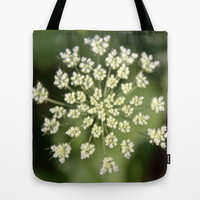 queen lace flowering head. floral garden plant photography. Tote Bag by NatureMatters