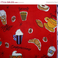 Coffee fabric Espresso Cappuccino Mocha Latte donuts cotton quilting sewing material for crafts by the yard yardage