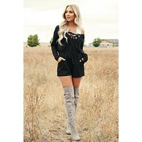 Don't Tell Me Hooded Romper (Black)