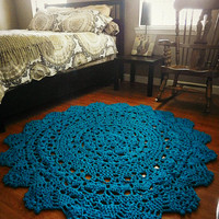Crochet Doily Rug, Bright Blue, Happy Monster Blue Rug, Lace area rug, Cottage Chic- Oversized shabby Rustic home round rug- French Country