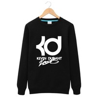 Winter Long sleeves Fleece Kevin Durant Round neck Hoodies  men hiphop Loose  fashionclothing casual letter KD Tops