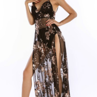 Sequined sling sexy backless dress deep V-neck split mopping dress