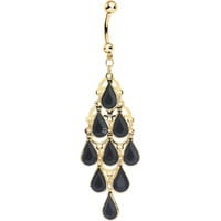 Gold Plated Faux Opaque Black Stone Teardrops Chandelier Belly Ring | Body Candy Body Jewelry