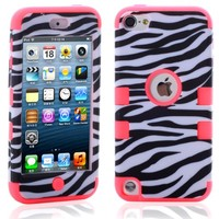 MagicSky Plastic + Silicone Hybrid Zebra Pattern Case for Apple iPod Touch 5 5th Generation - 1 Pack - Retail Packaging - Hot Pink