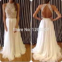 Halter Heavy Beaded Diamond Top Open Back A Line Chiffon Prom Dresses Fashion Gowns Backless Summer-in Prom Dresses from Weddings & Events on Aliexpress.com | Alibaba Group