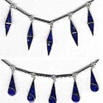 Sterling Silver Semi Collar with Veneered Lapis Lazuli