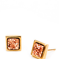 Square Drusy Studs in Rosegold