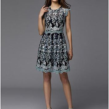 A-Line Jewel Neck Short / Mini Lace Cocktail Party / Prom Dress with Lace Insert by TS Couture®
