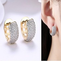 Round Crystal Earrings for Women Gold-color Hoop Earrings CZ Stone Cubic Zirconia Earring Vintage Jewelry