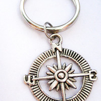 silver compass  key chain