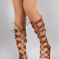 Strappy Cutout Lace Up Open Toe Gladiator Flat Sandal
