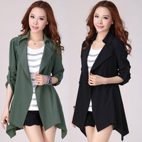 Korean Style  Women Long Sleeve Cardigan Jacket Coat Windbreakers 2 Colors = 1667688772