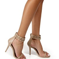 Tan Studded Ankle Strap Heels