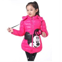 Trendy CNJiaYun Winter Minnie Girls Jacket Snow Treasure Kids Coats Cotton-padded Clothes Children's Keeping Warm Hoodies Kids Clothing AT_94_13